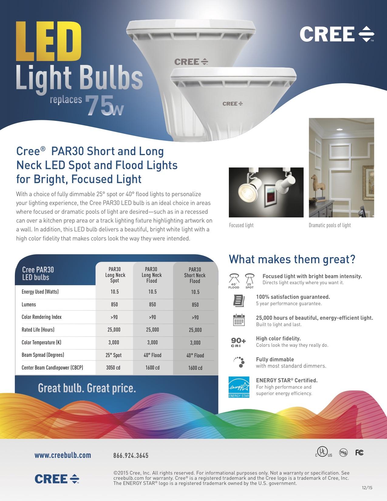 Cree light bulbs 1PAR30 Sales Sheet