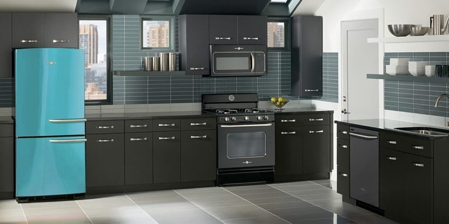 GE blue-refrigerator-dark-kitchen